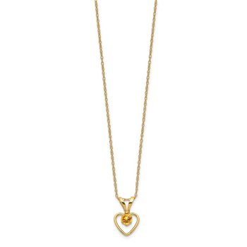 14k Madi K 3mm Citrine Heart Birthstone Necklace