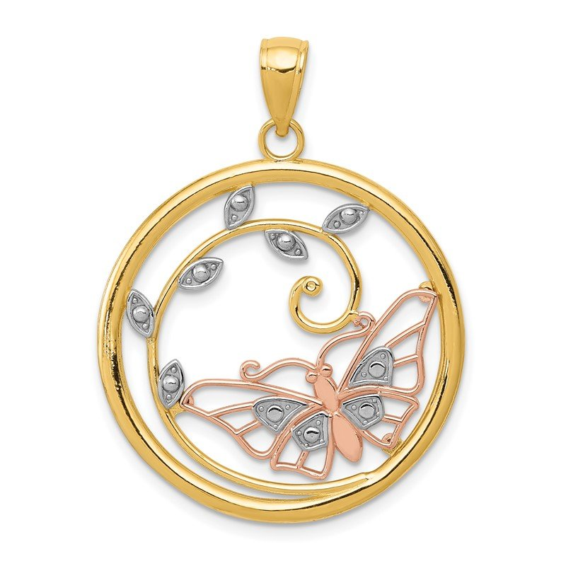 Quality Gold 14k Two-tone w/White Rhodium Butterfly in Circle Pendant
