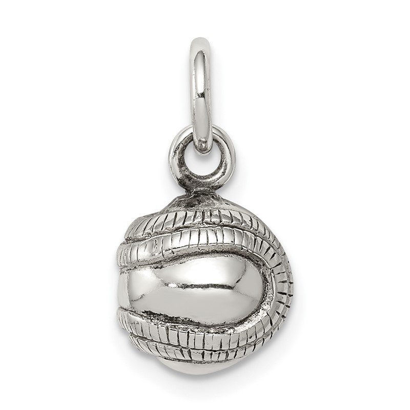 Quality Gold Sterling Silver 3D Antiqued Baseball Charm