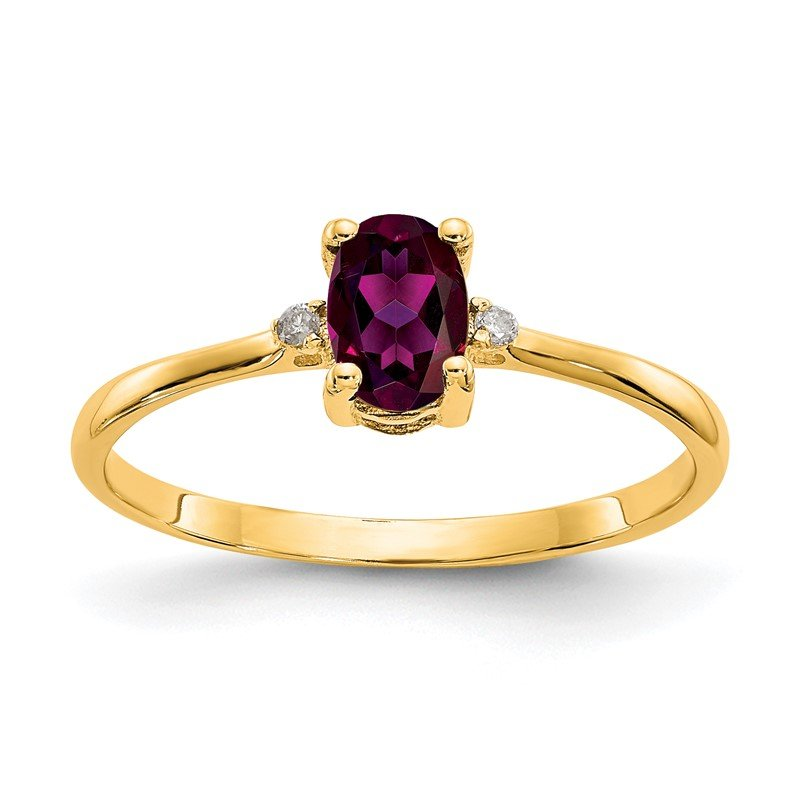 Quality Gold 14k Diamond & Rhodolite Garnet Birthstone Ring