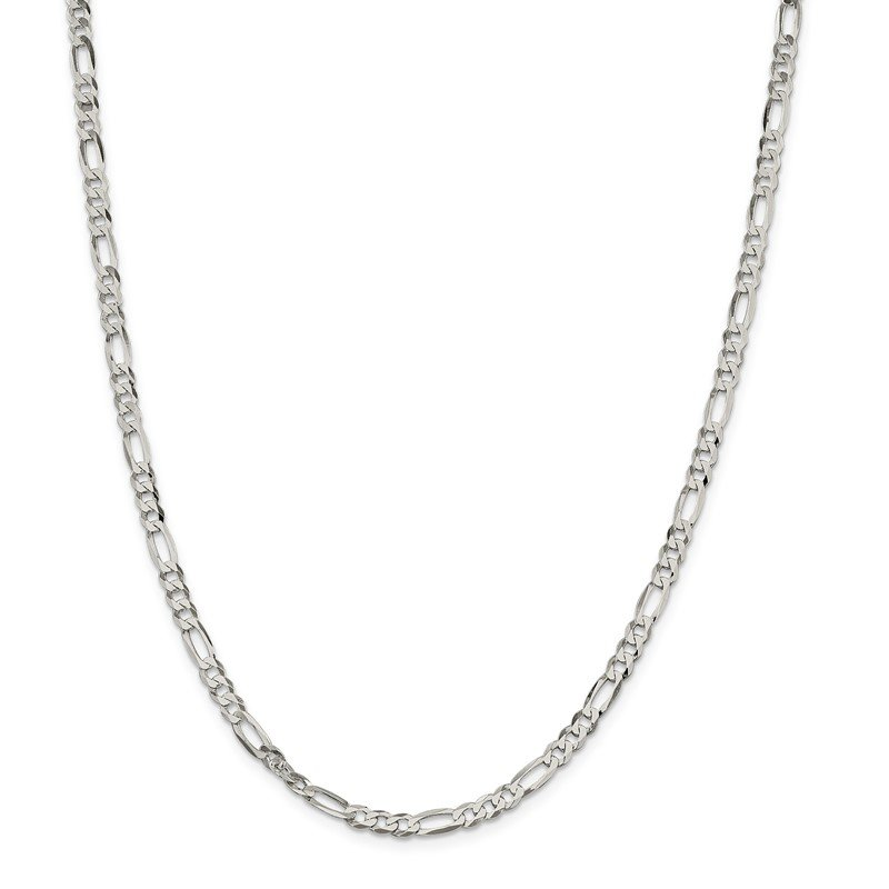 Quality Gold Sterling Silver 4.5mm Lightweight Flat Figaro Chain