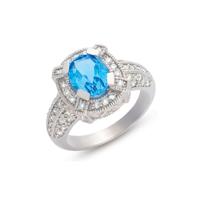 Briana Blue Topaz & Diamond Ring