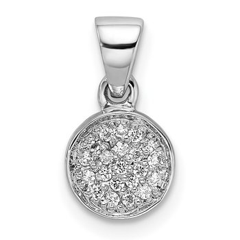 Sterling Silver Rhodium-plated CZ Polished Pendant