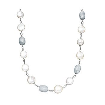 "Honora Sterling Silver 12-14mm White Freshwater Cultured Pearl with Aquamarine 18"" Necklace"