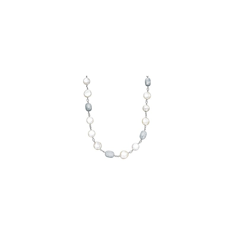 "Honora Honora Sterling Silver 12-14mm White Freshwater Cultured Pearl with Aquamarine 18"" Necklace"