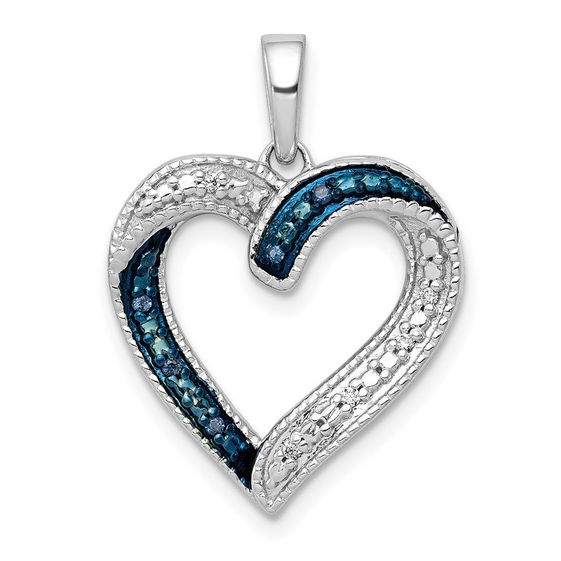 Quality Gold 14k White Gold 1/20ct. Blue and White Diamond Heart Pendant