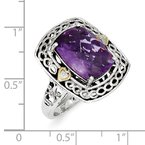 Shey Couture Sterling Silver w/14k Diamond & Amethyst Ring
