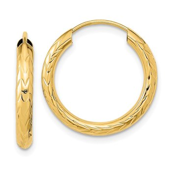 14k Polished & D/C Endless Hoop Earrings