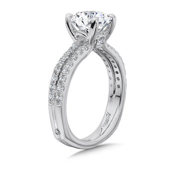 Split Shank Engagement Ring with Diamond Side Stones in 14K White Gold (2ct. tw.)