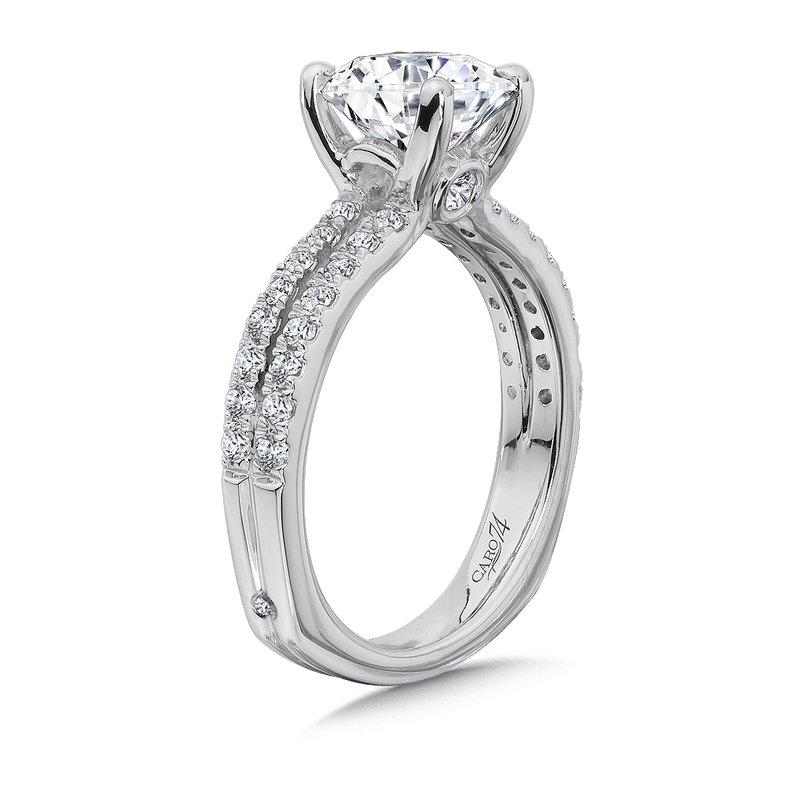 Caro74 Split Shank Engagement Ring with Diamond Side Stones in 14K White Gold (2ct. tw.)