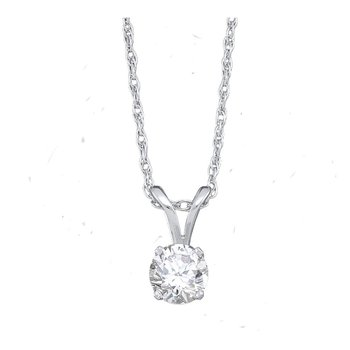 14kt White Gold Womens Round Diamond Solitaire Pendant 1/5 Cttw