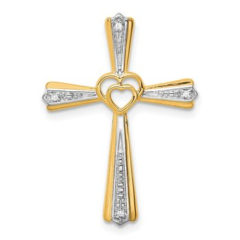 14k Rhodium Diamond Cross Pendant