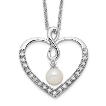 Sterling Silver CZ & FW Cultured Pearl My Friend 18in Heart Neck