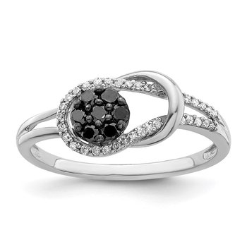 Sterling Silver Rhod Plated Black and White Diamond Love Knot Ring