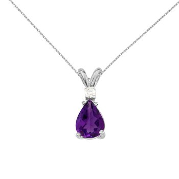 14k White Gold Pear Shaped Amethyst and Diamond Pendant