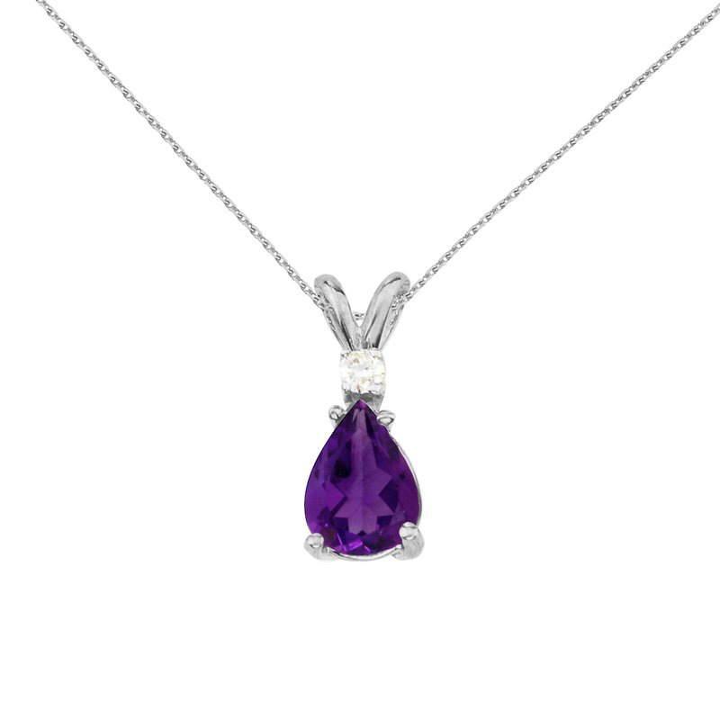 Color Merchants 14k White Gold Pear Shaped Amethyst and Diamond Pendant