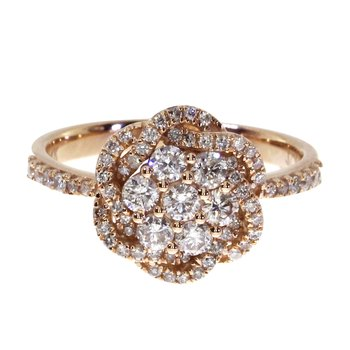 14k Rose Gold Diamond Flower Cluster Ring