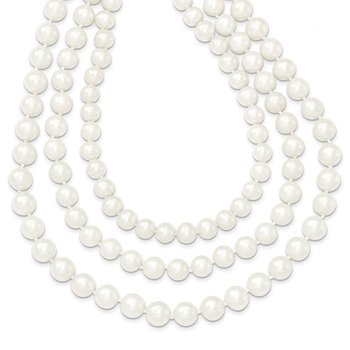 14k 8-9mm White Near Round FW Cultured Pearl 3-Strand Necklace