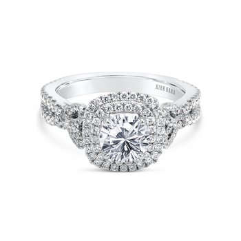 Romantic Bows Halo Diamond Engagement Ring