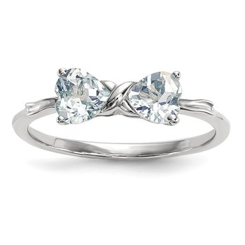 14k White Gold Polished Aquamarine Bow Ring