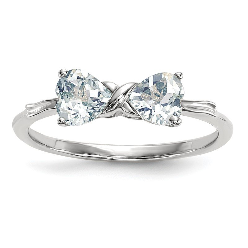 Quality Gold 14k White Gold Polished Aquamarine Bow Ring