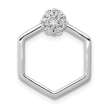 14k White Gold 1/5ct. Diamond Fancy Hexagon Chain Slide