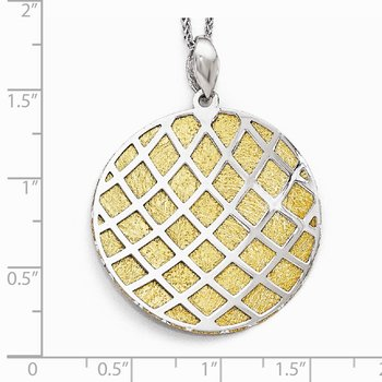 Leslie's Sterling Silver Gold-plated Polished Scratch-Finish Pendant