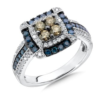 Pave set Blue, Cognac and White Diamond Ring, 14k White Gold  (1.00 ct. tw.)