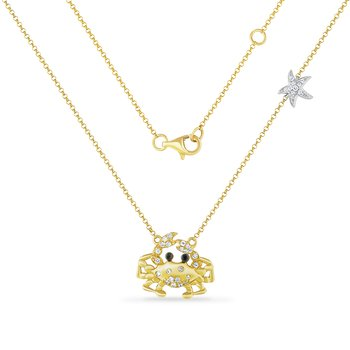 14K crab necklace with 34 diamonds 0.20ct & 2 brown diamonds 0.015ct 15mm long x 19mm wide