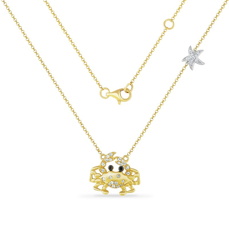 Shula NY 14K crab necklace with 34 diamonds 0.20ct & 2 brown diamonds 0.015ct 15mm long x 19mm wide