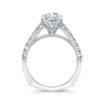 14K White Gold Round Diamond Engagement Ring with Euro Shank (Semi-Mount)