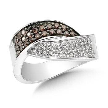 Pave set Cognac and White Diamond Wave Bypass Ring set in 14k White Gold (1/2 ct. tw.)