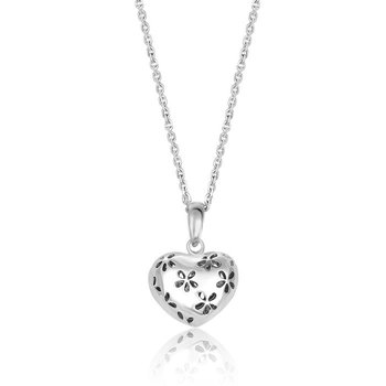Heart Pendant with Flower Design