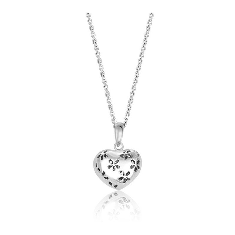 LARUS Jewelry Heart Pendant with Flower Design