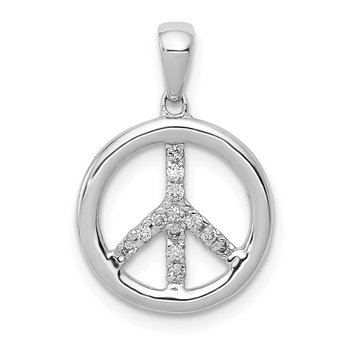 14k White Gold Diamond Peace Sign Pendant