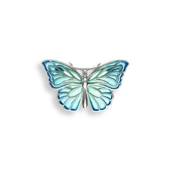 Blue Butterfly Brooch-Pendant.Sterling Silver - Plique-a-Jour