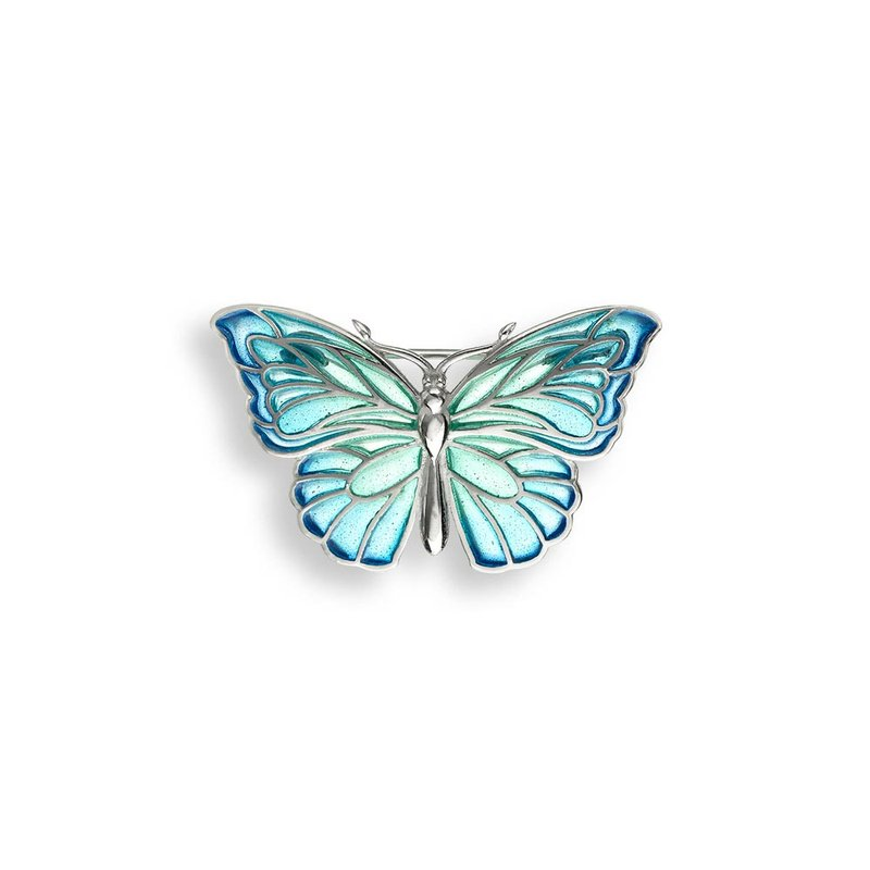 Nicole Barr Designs Blue Butterfly Brooch-Pendant.Sterling Silver - Plique-a-Jour