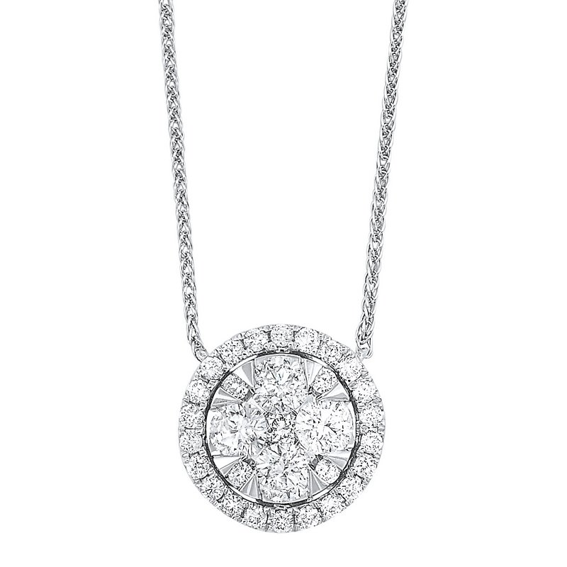 Gems One Diamond Starburst Eternity Circle Cluster Pendant Necklace in 14k White Gold (1/2 ctw)