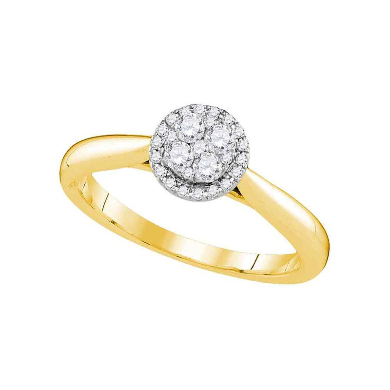 Kingdom Treasures 14kt Yellow Gold Womens Round Diamond Cluster Bridal Wedding Engagement Ring 1/4 Cttw
