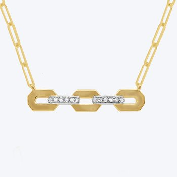 14k Gold and Diamond Triple Link Necklace