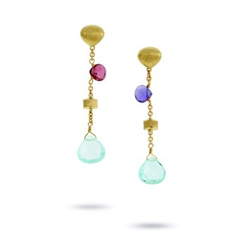 Mixed Stone & Gold Tear Drop Short Drop Earrings