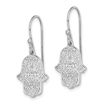 Sterling Silver Rhodium-plated Filigree Hamsa Dangle Hook Earrings