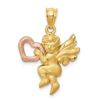 14k Two-tone Satin Angel Charm