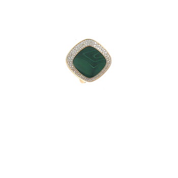 18Kt Gold Ring With Diamonds And Malachite