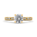 Carizza 14K Yellow Gold Round Diamond Vintage Engagement Ring (Semi-Mount)