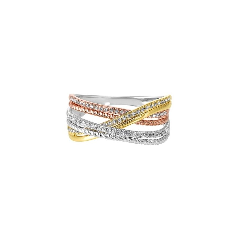 Gems One Diamond Luxe Braided Multi-Band in Tri-Color Gold (1/5ctw)