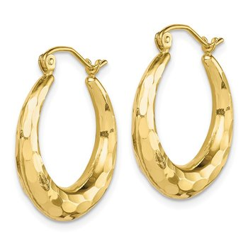 10k Polished & D/C Hoop Earrings