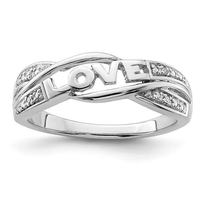 Quality Gold Sterling Silver Rhodium Plated Diamond Love Ring