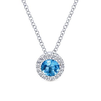 14k White Gold Round Swiss Blue Topaz Diamond Halo Fashion Necklace