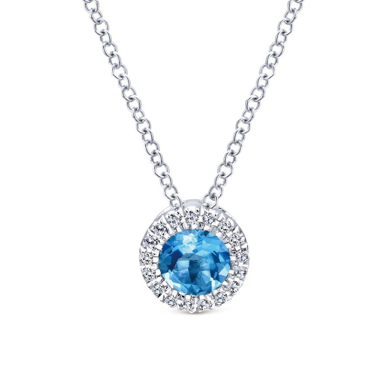Gabriel Fashion 14k White Gold Round Swiss Blue Topaz Diamond Halo Fashion Necklace